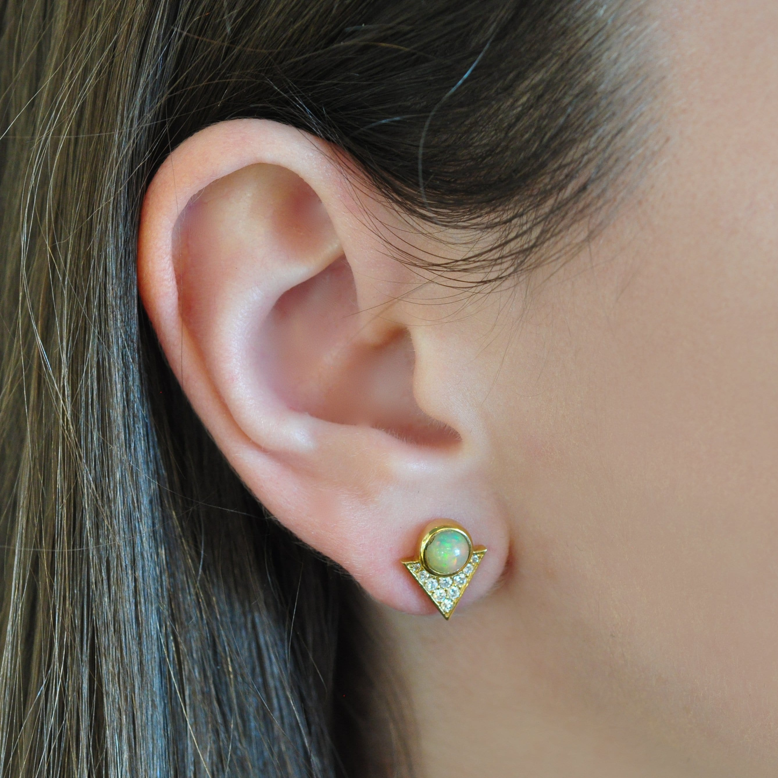round opal diamond triangle gold studs larisa laivins