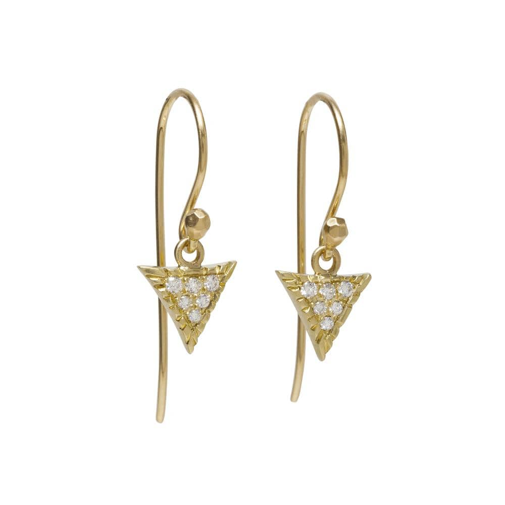 Triangular Pave Diamond Scale Earrings - Curated Los Angeles