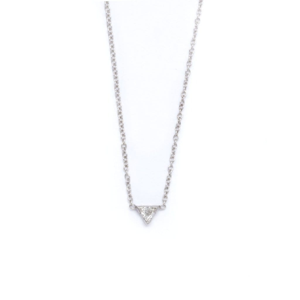 Trillion Diamond White Gold Solitaire Necklace