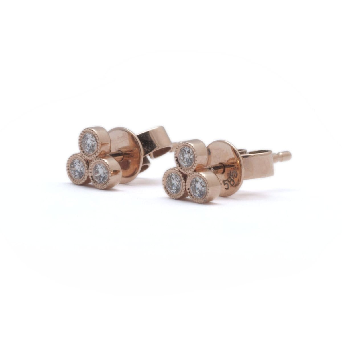 cartilage stud earrings tiny l diamond brown cz