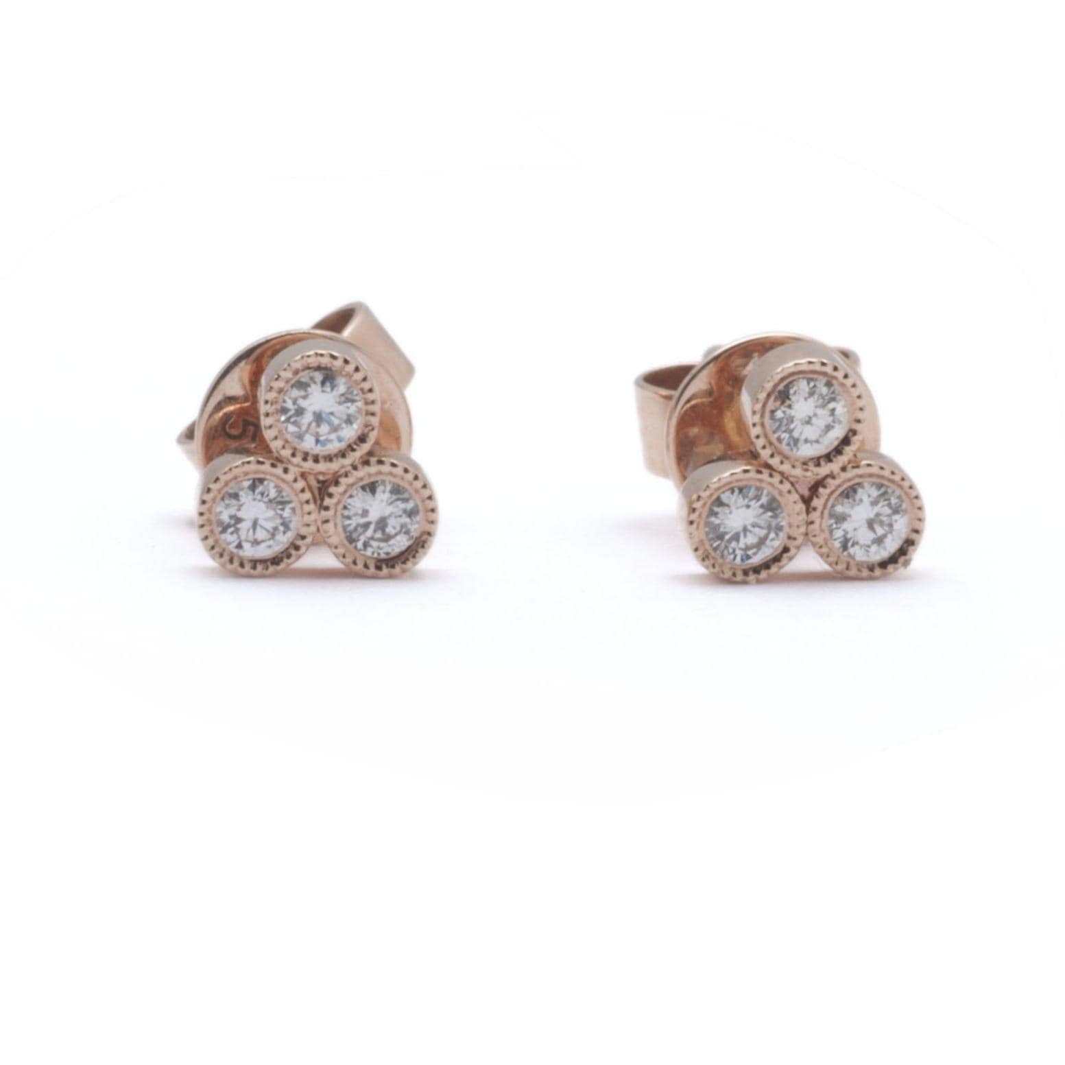 Three Diamond Bezel Triangle Cluster Stud Earrings - Curated Los Angeles