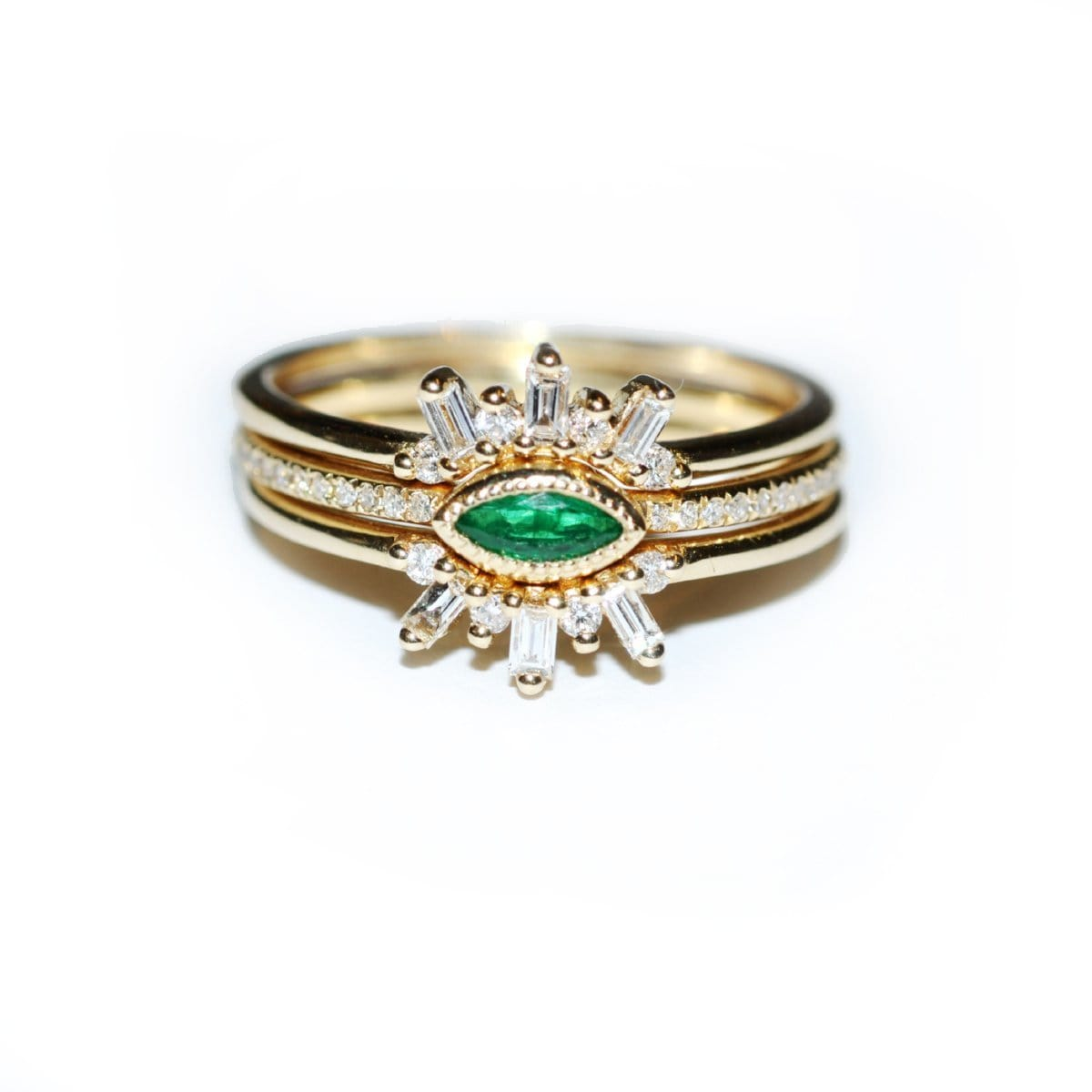 Emerald Marquise and Diamond Baguette Three Ring Set