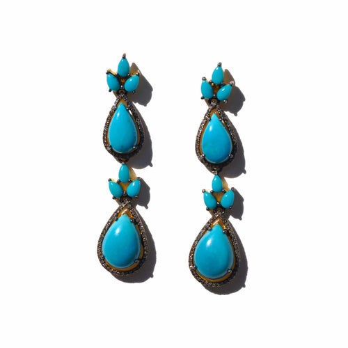 Teardrop Sleeping Beauty Turquoise and Diamond Earrings