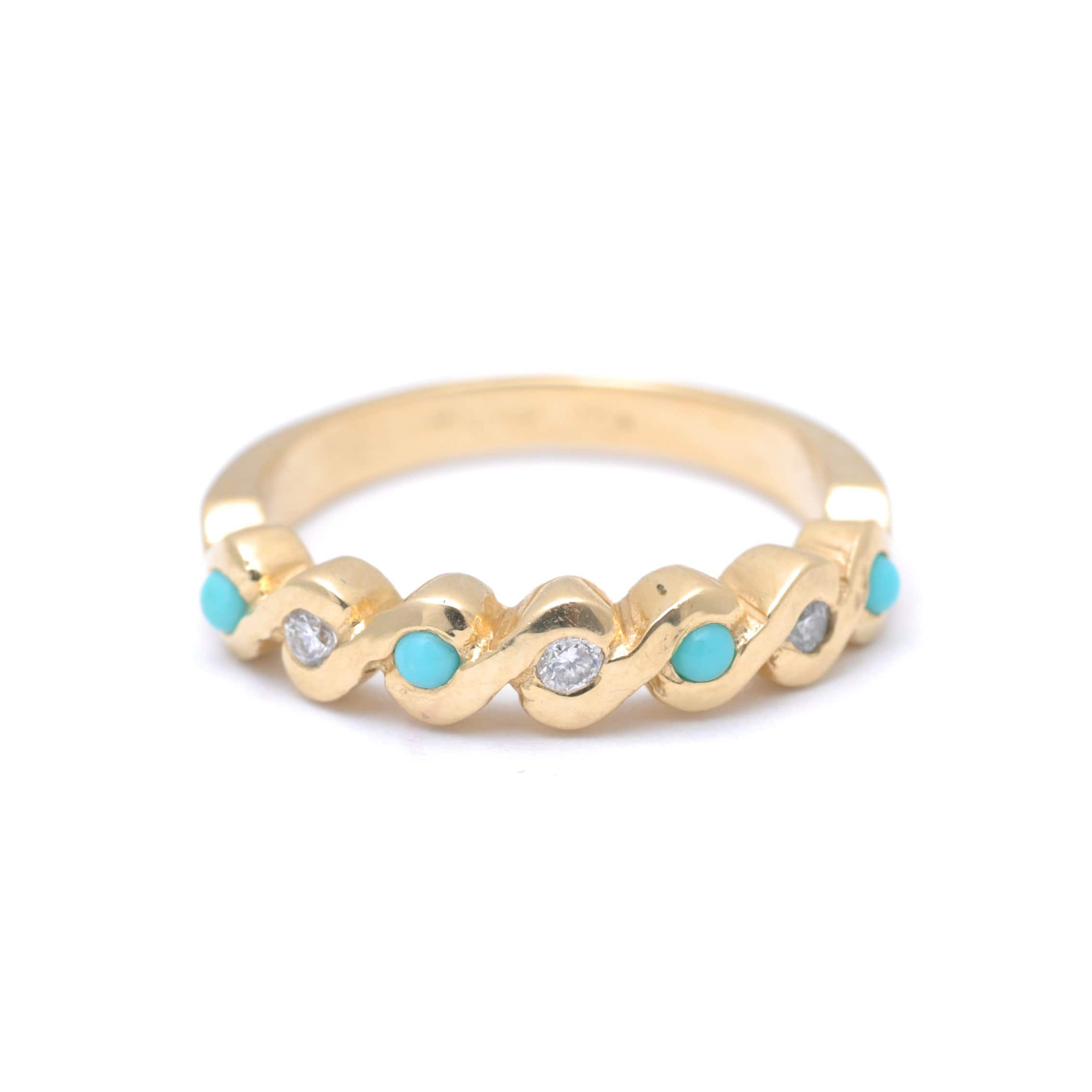 Turquoise Diamond Wavy Gold Ring Caitlin Nicole