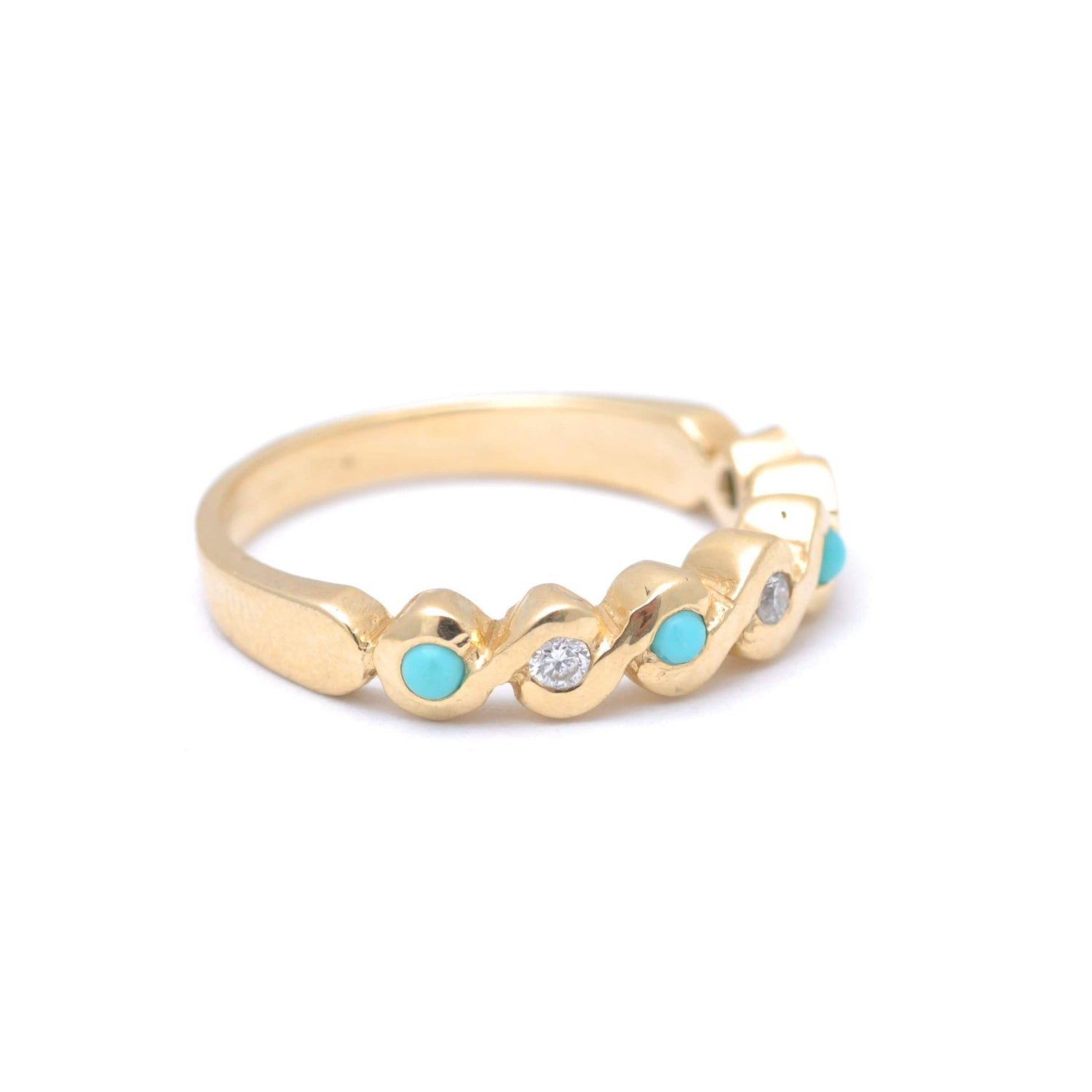 Turquoise Diamond S Shape Yellow Gold Ring Caitlin nicole