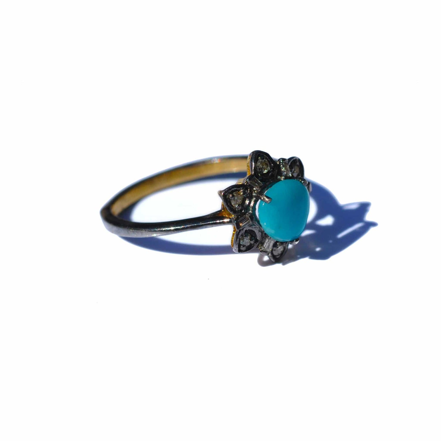 Turquoise Diamond Rhodium Ring - Curated Los Angeles