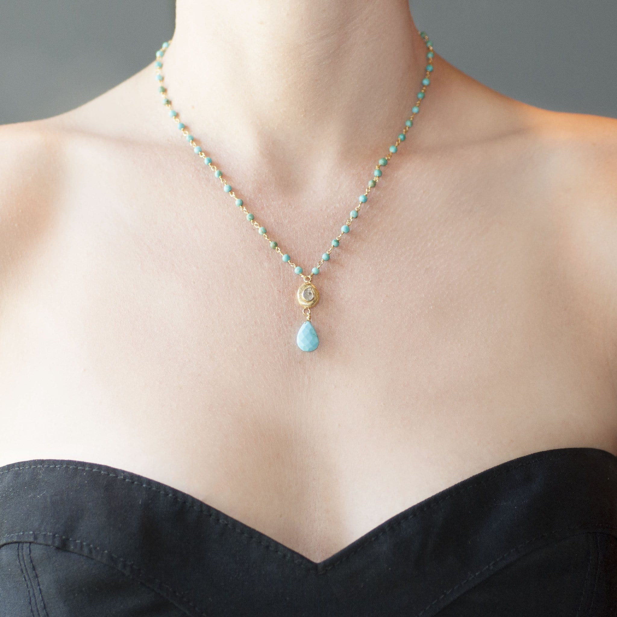 Turquoise Bead Diamond Seed Pendant Necklace - Curated Los Angeles