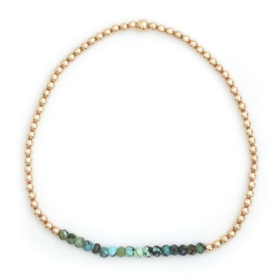 Mixed Turquoise Bead 2mm Layering Bracelet - Curated Los Angeles