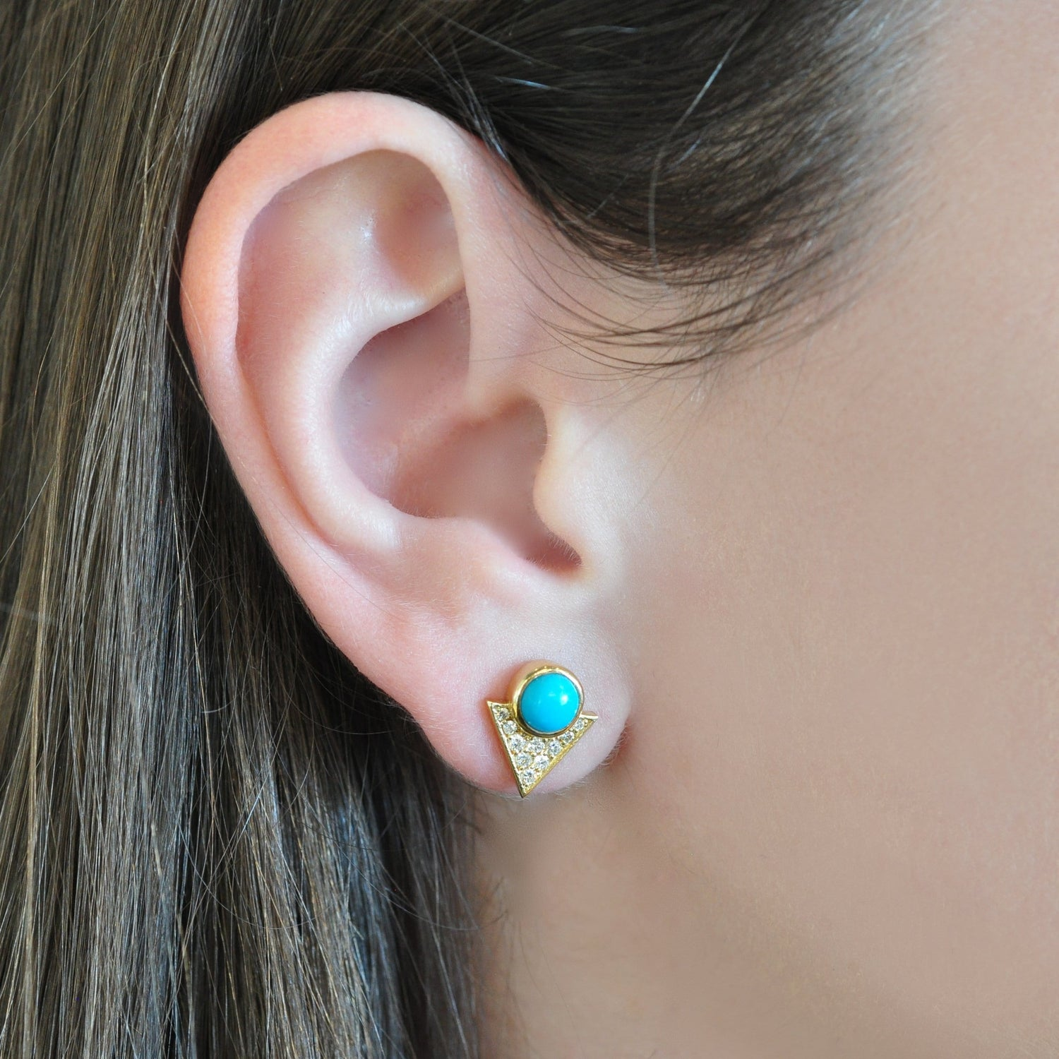 Round Turquoise gold diamond earrings Larisa Laivins