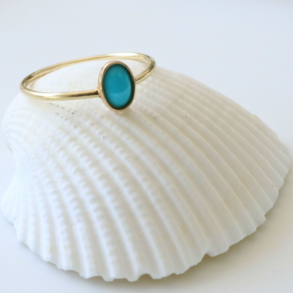 Turquoise Oval Solitaire Gold Bezel Ring