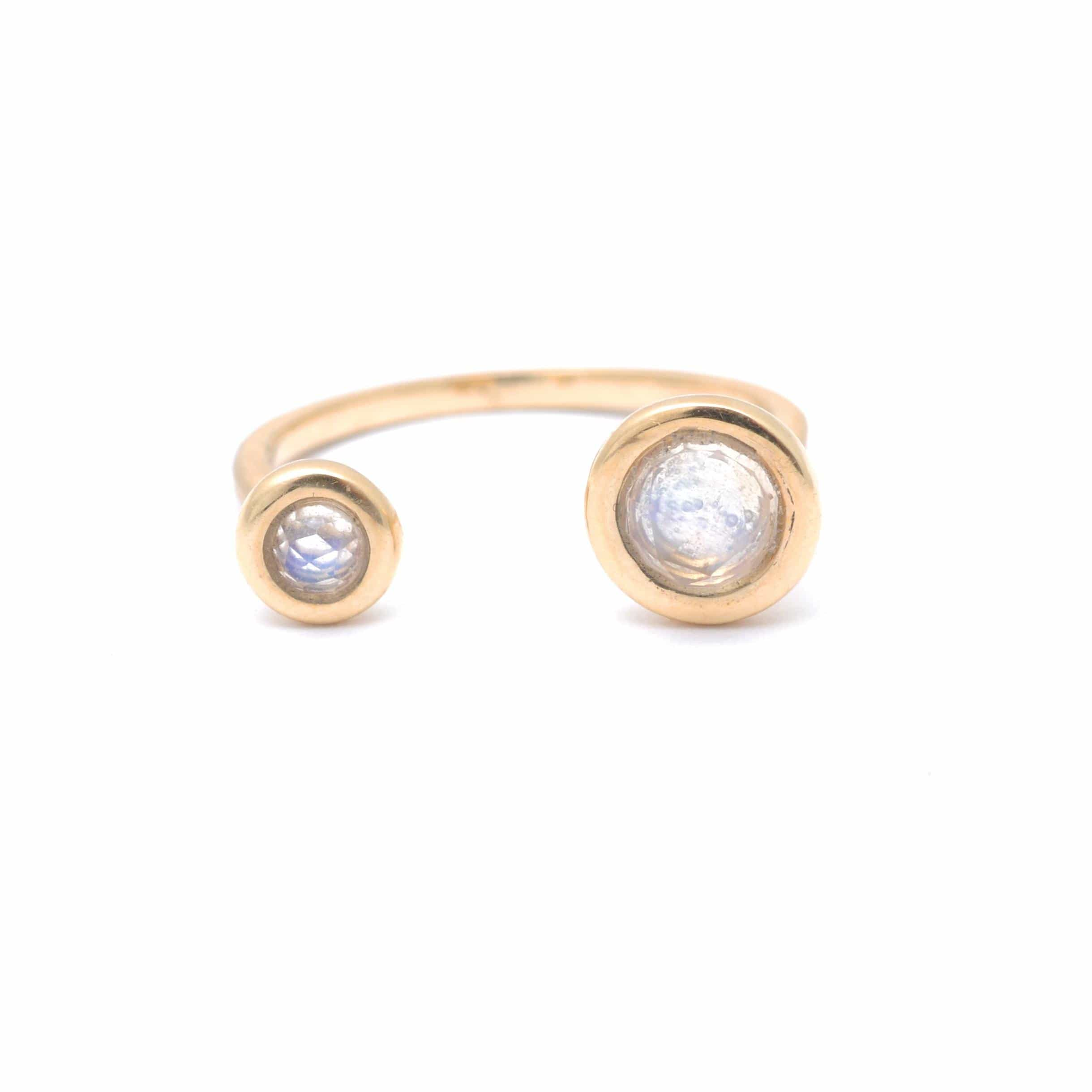 Two Moonstone Open Cuff Yellow Gold Ring