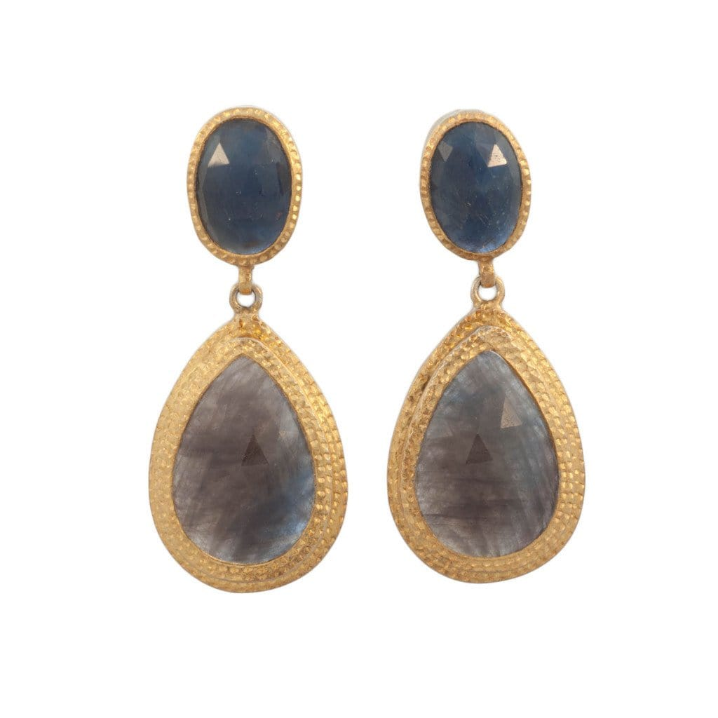Double Hammered Sapphire Drop Earrings - Curated Los Angeles