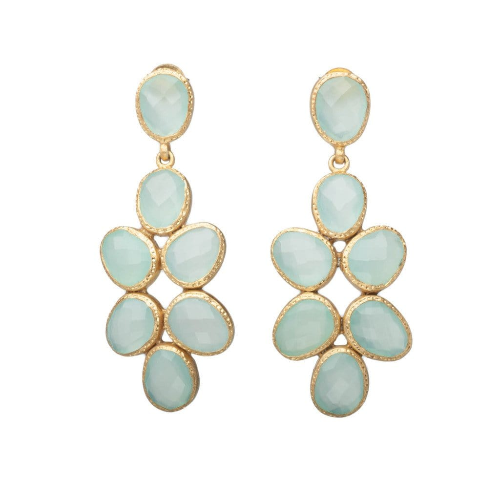 Aqua Chalcedony Drop Earrings - Curated Los Angeles