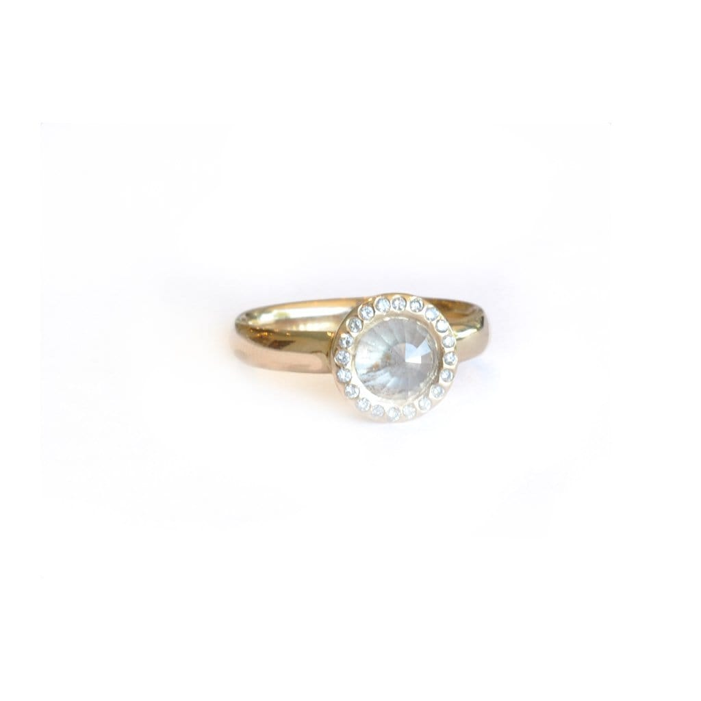 Rose Cut Round Diamond Halo Ring - Curated Los Angeles