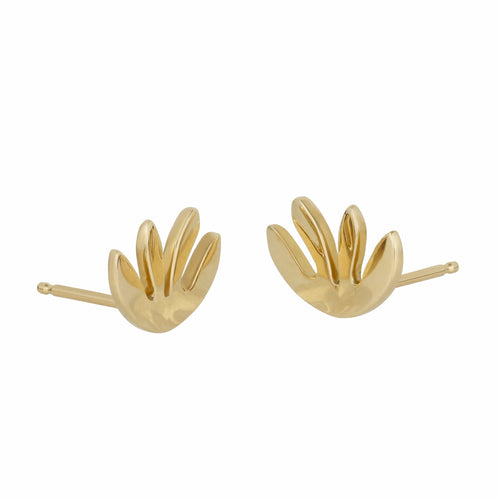 Abstract Kale 14K yellow gold stud earrings