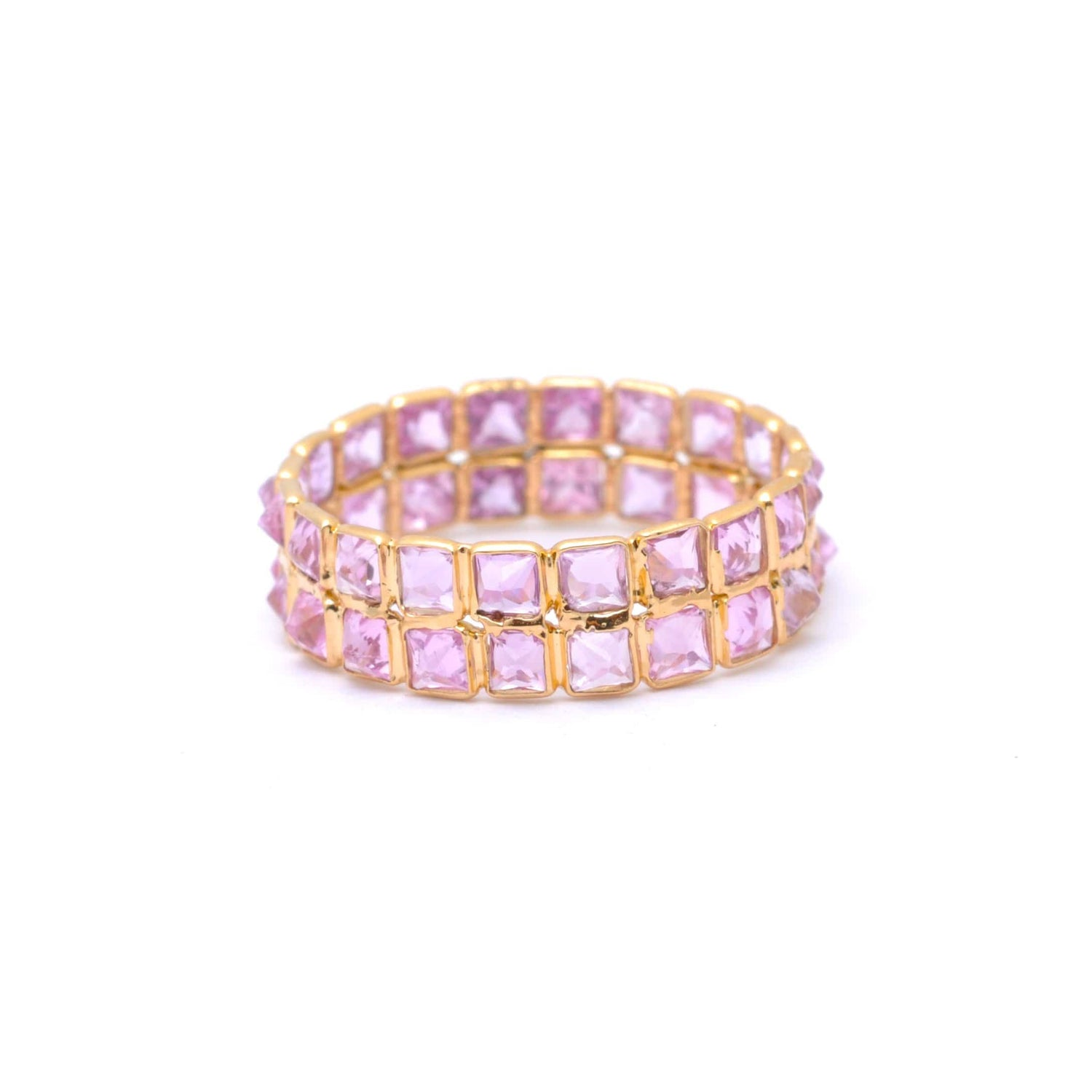 Pink Sapphire Two Row Gold Ring