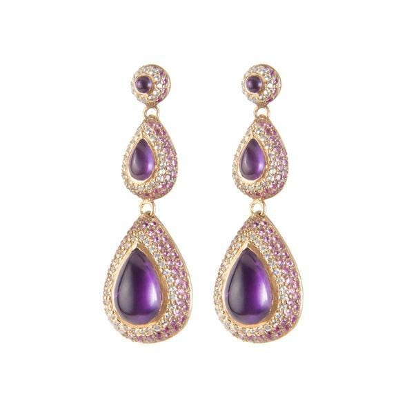 Triple Amethyst White and Pink Sapphire Vermeil Earrings - Curated Los Angeles