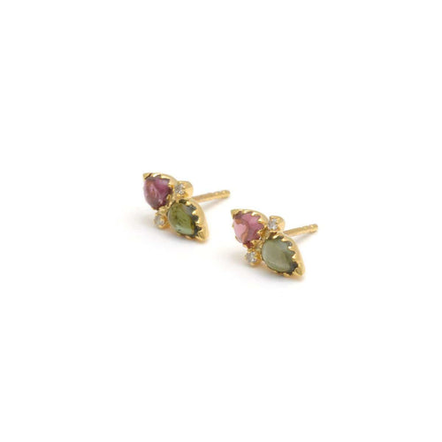 Watermelon Tourmaline Diamond Earrings
