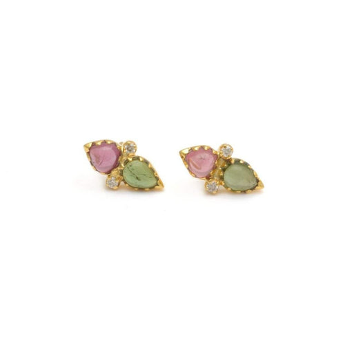 Pink Green Tourmaline Diamond Earrings Liz Genetti