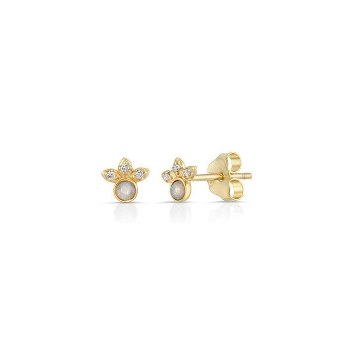Opal and Diamond Flower Studs