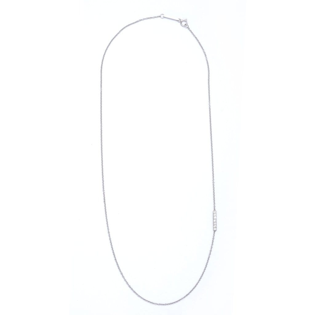 Side Diamond Bar White Gold Necklace