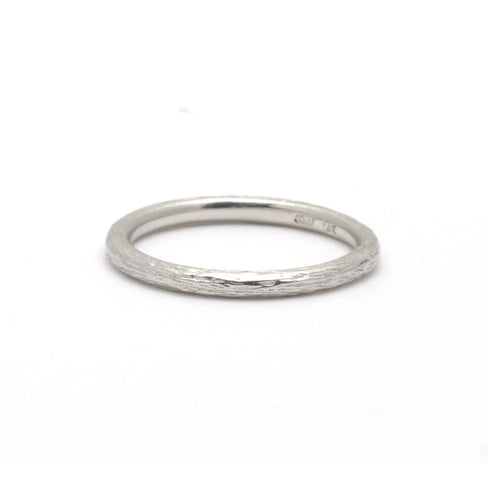 White Gold Textured Stacking Ring