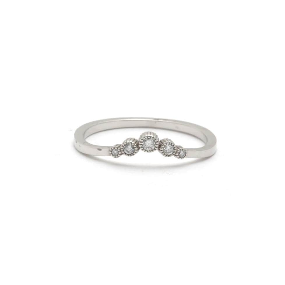 Diamond V Shape Curved White Gold Stacking Band