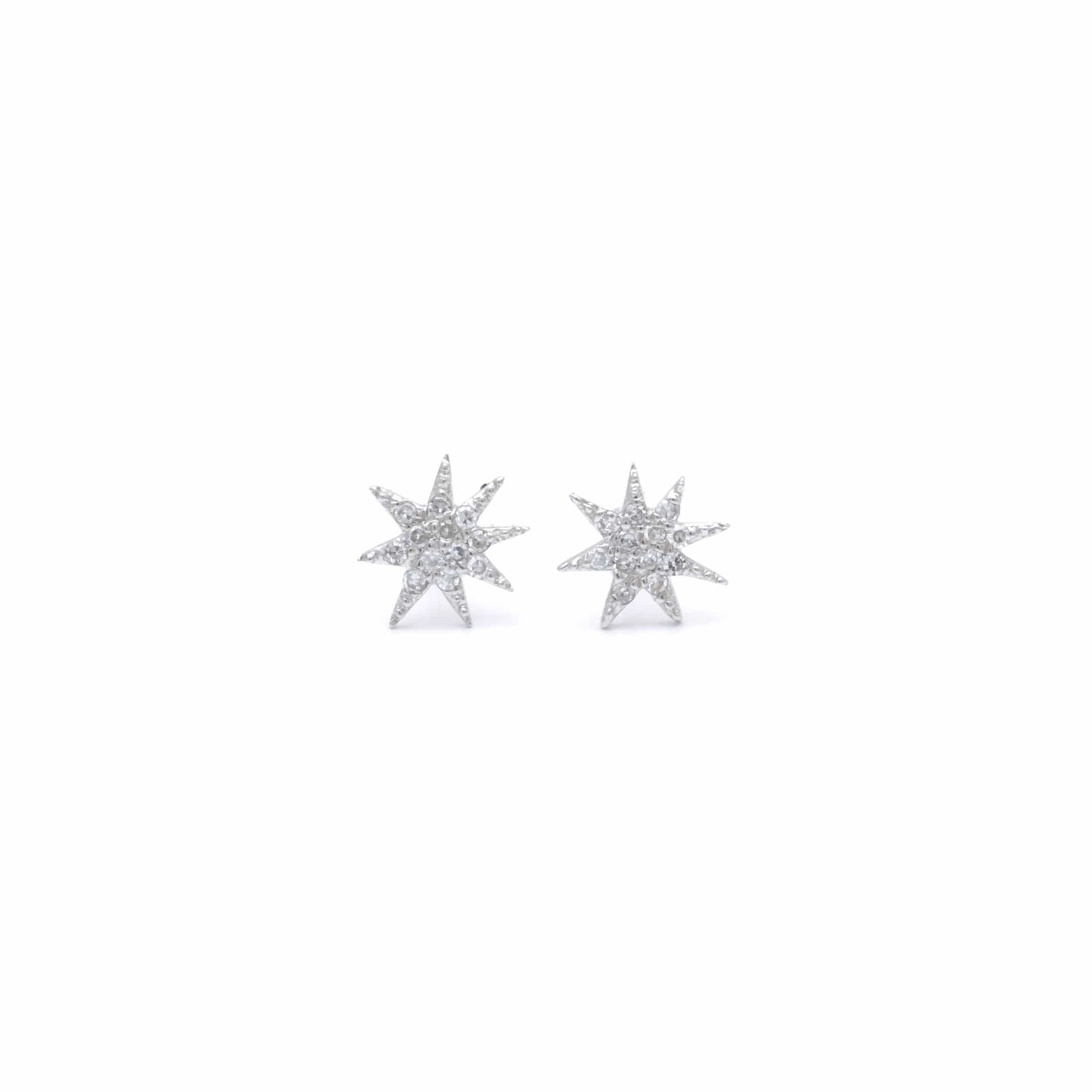 Diamond Starburst White Gold Studs