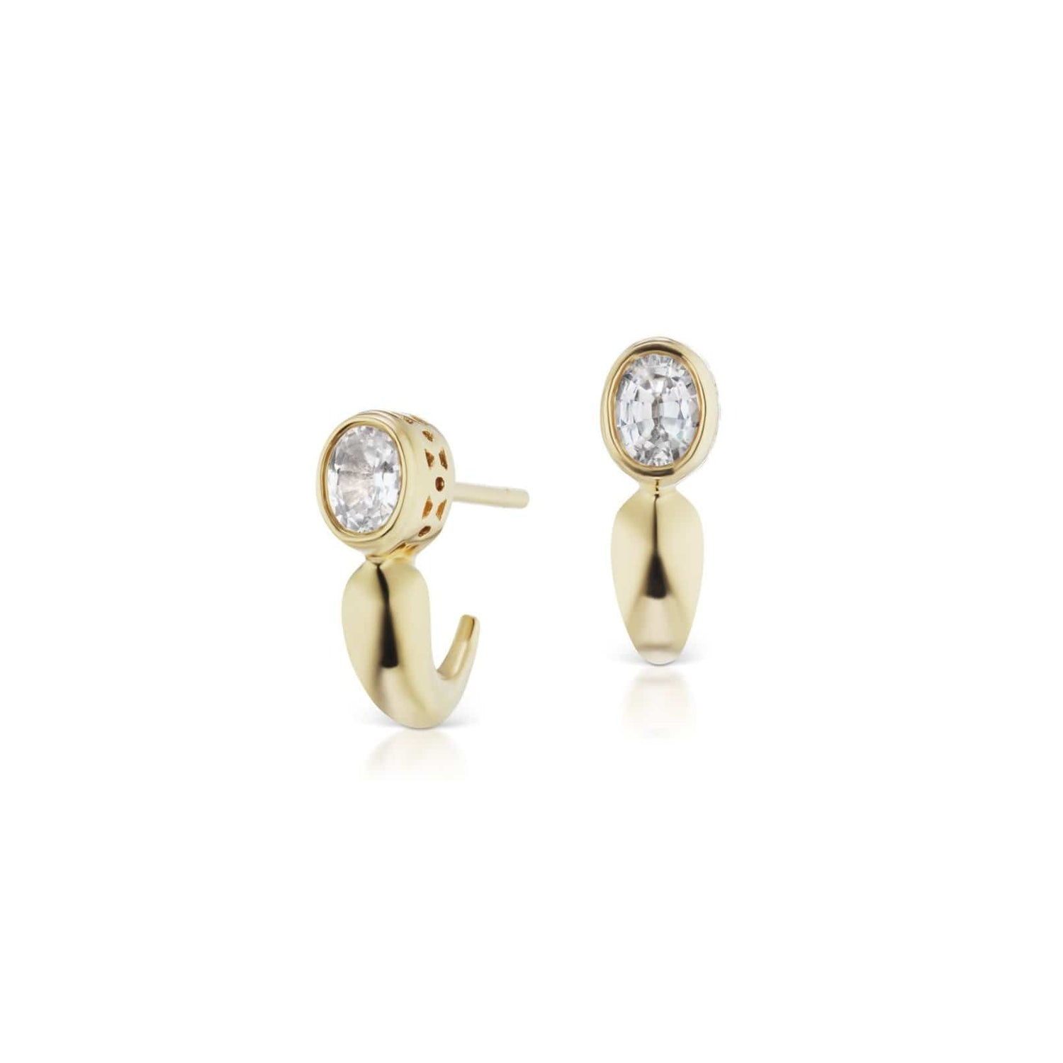 Oval White Sapphire Gold J- Hoop Earrings