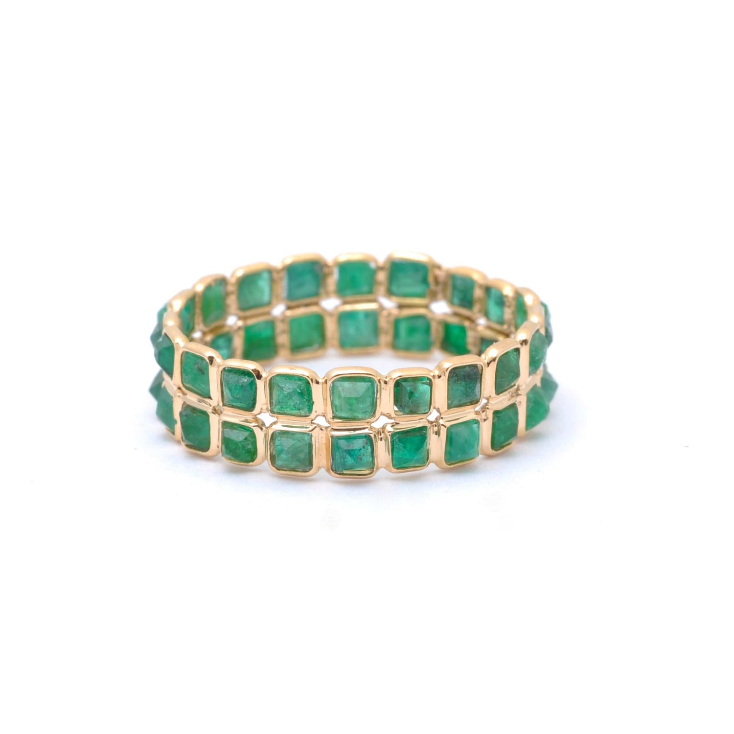 Two Row Emerald Gold Ring