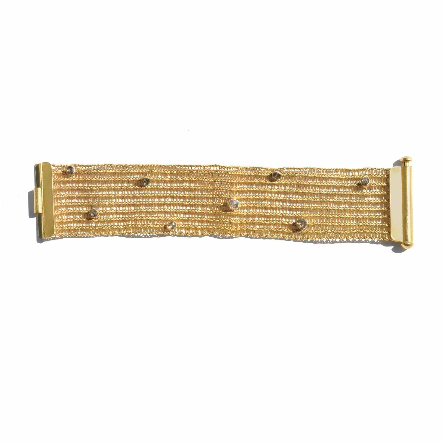 Woven Brown Diamond Wide Bracelet - Curated Los Angeles