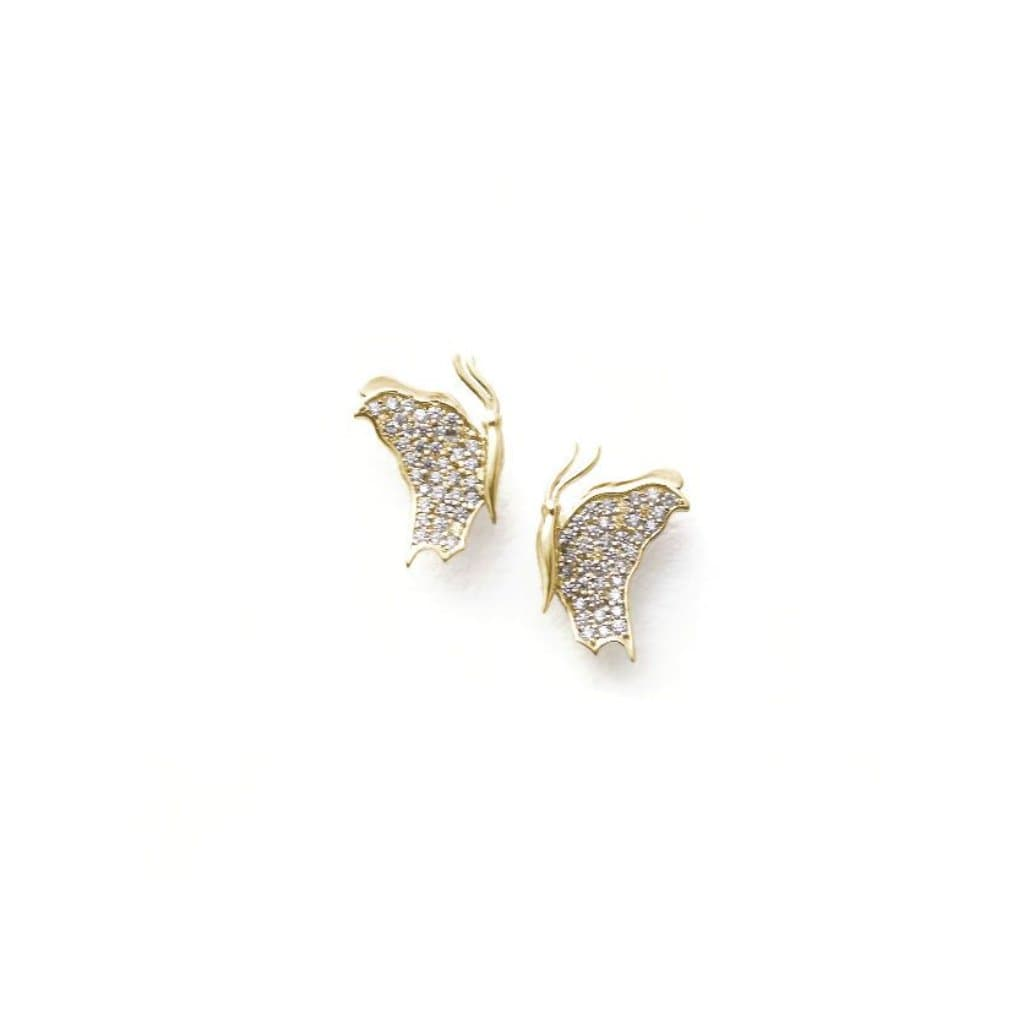 Small Diamond Butterfly Profile Yellow Gold Earrings - Curated Los Angeles
