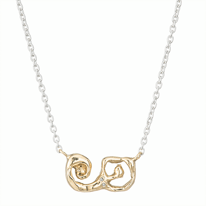 Diamond Stylized Mermaid Yellow Gold and Silver Necklace
