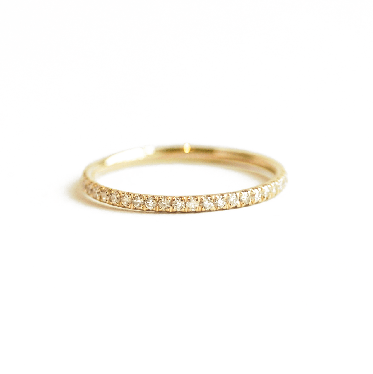Delicate Diamond Pave Gold Eternity Band
