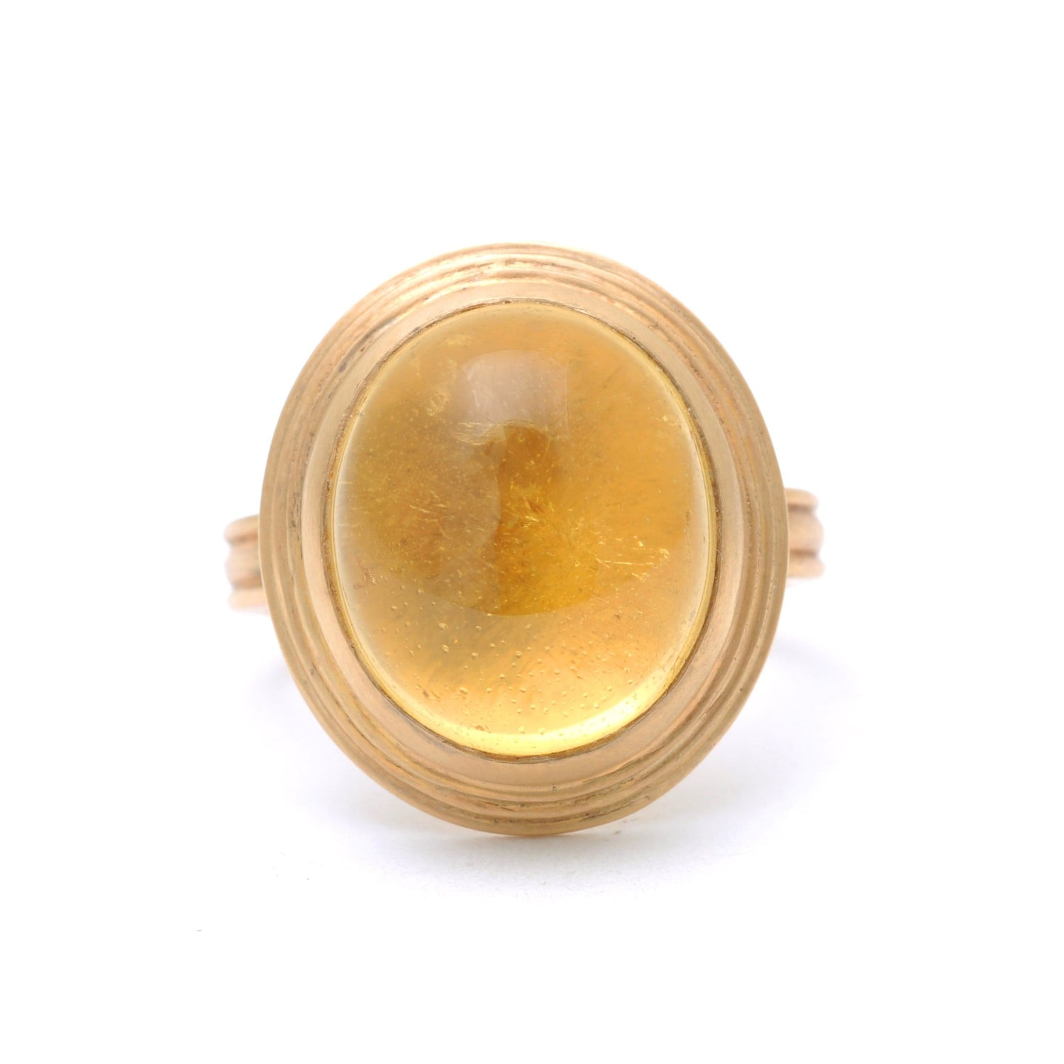 Yellow Beryl Cabochon Matte Yellow Gold Cocktail Ring