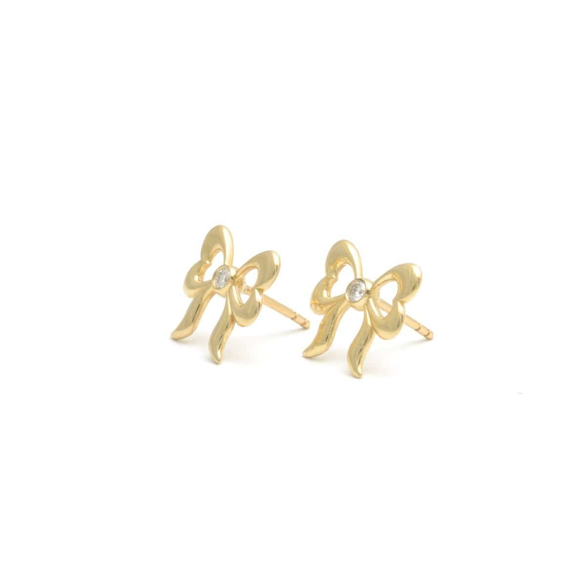 Diamond Bow Yellow Gold Stud Earrings Elizabeth Jane Atelier