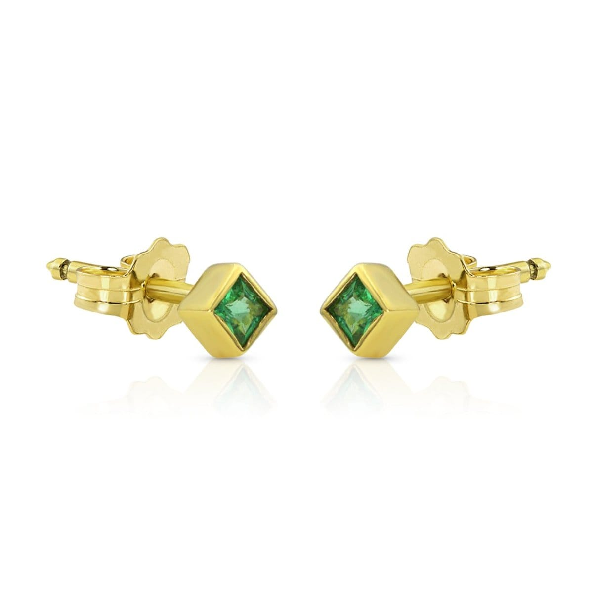 Princess Cut Emerald gold studs