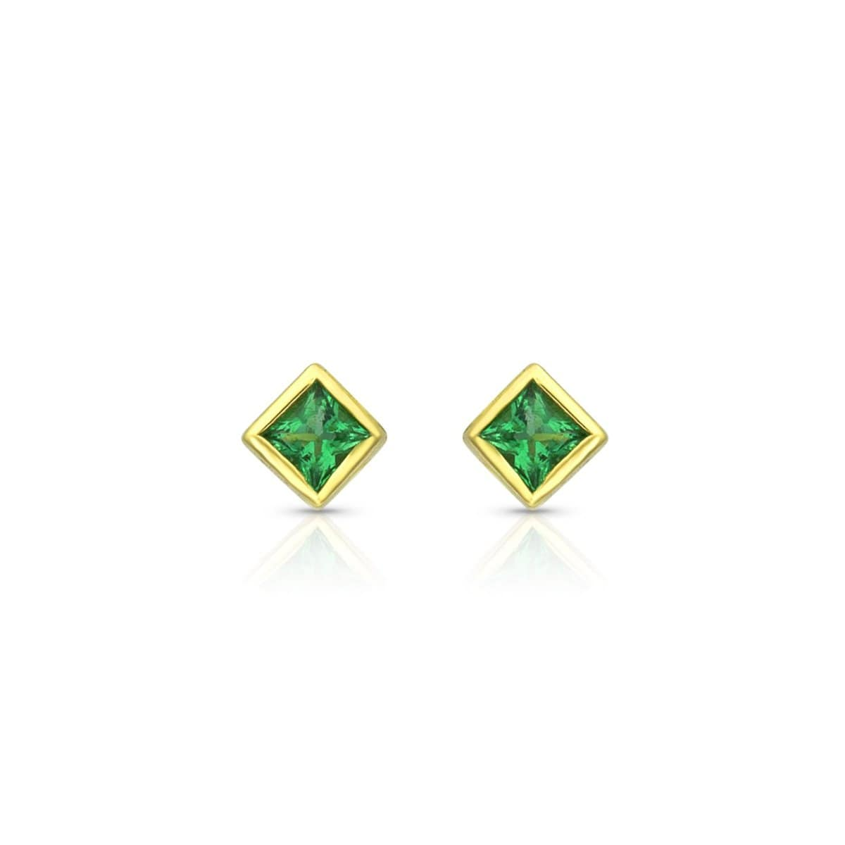 Square Cut Emerald studs