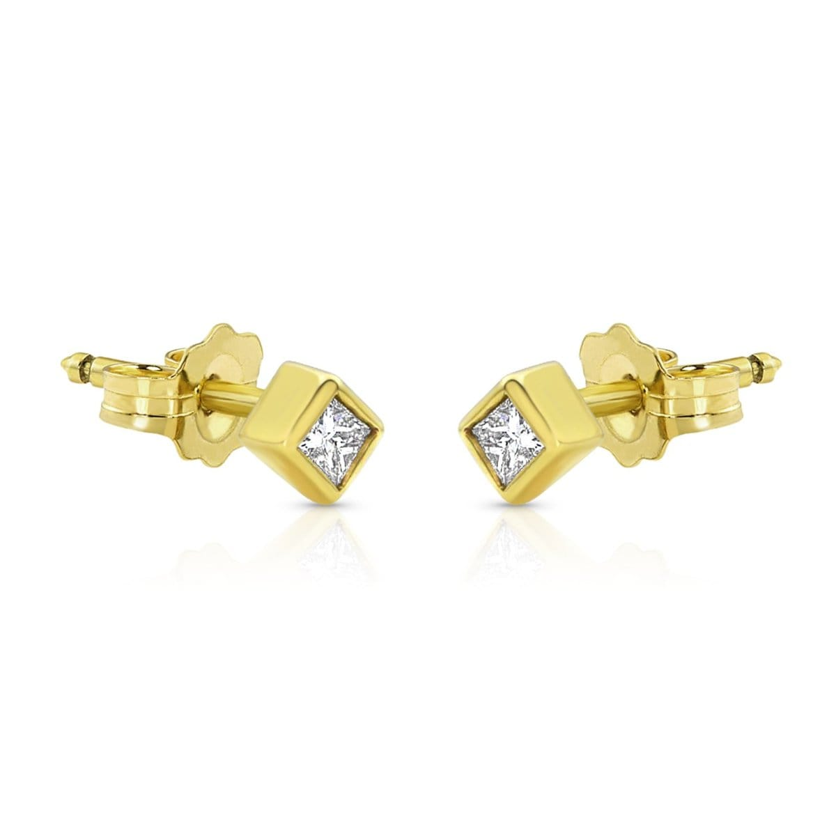 Square Bezel Princess Cut Diamond studs