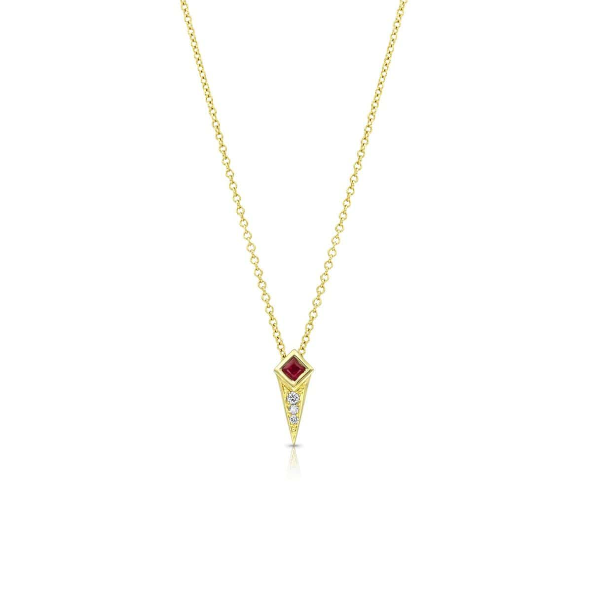 Ruby Diamond Gold Spike Pendant
