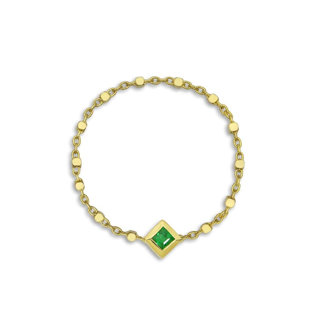 Princess Cut Emerald Chain Ring