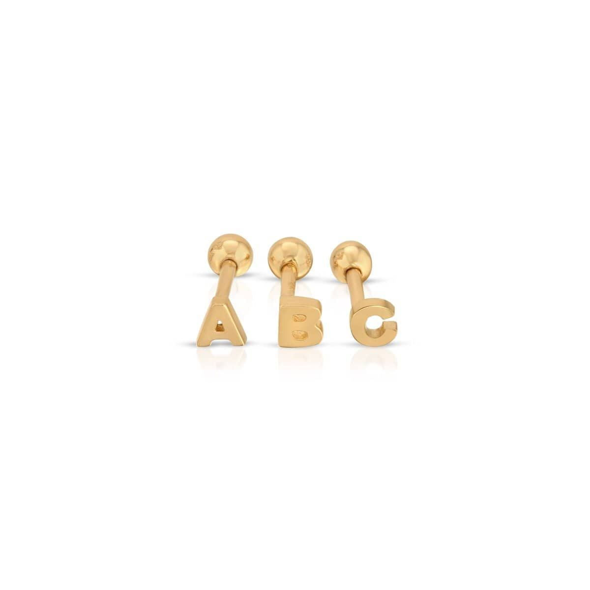 Gold Initial Screw Back Single Studs