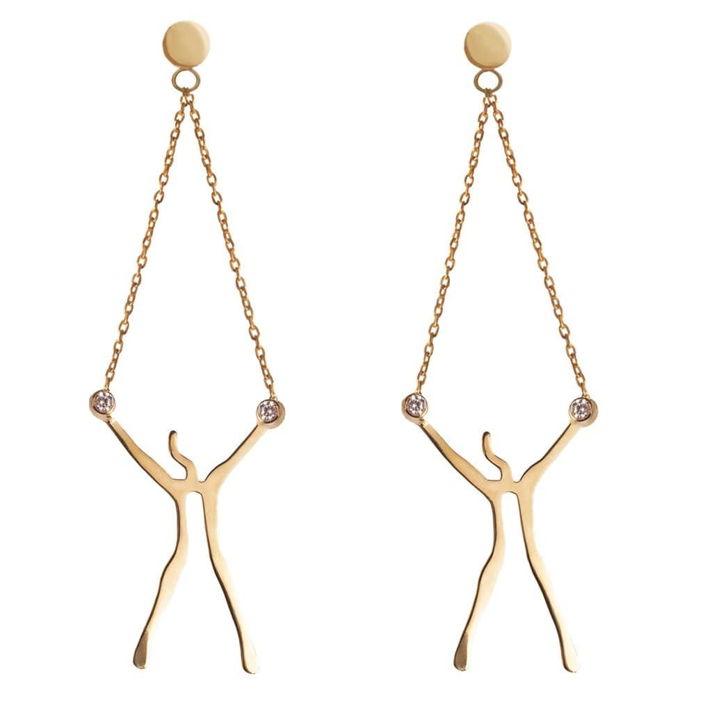 Abstract Woman Gold Earrings