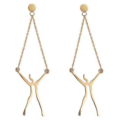 Abstract Man Yellow Gold Diamond Drop Earrings