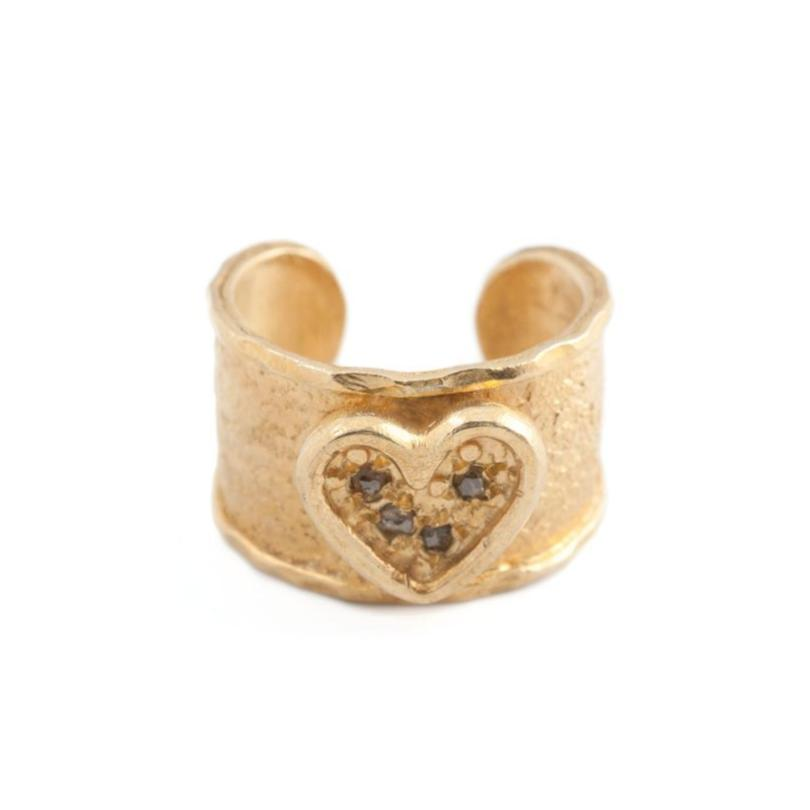 Diamond Heart Ring - Adjustable - Curated Los Angeles