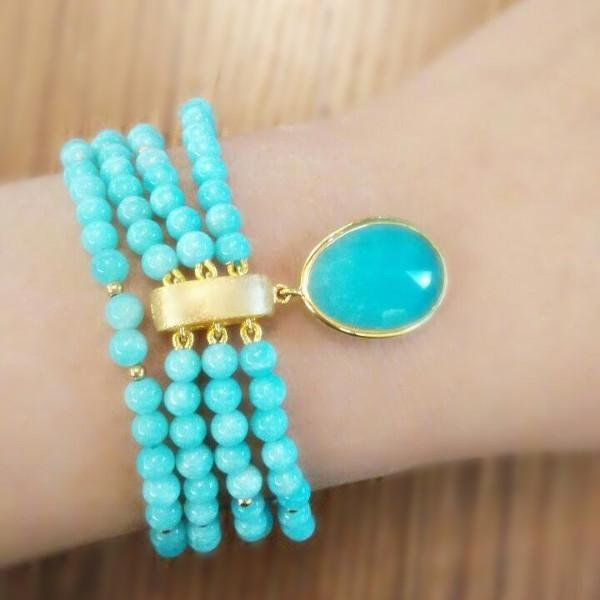 Amazonite Bead Charm Bracelet - Curated Los Angeles