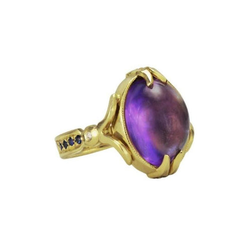 Amethyst Cabochon Sapphire Cocktail Ring