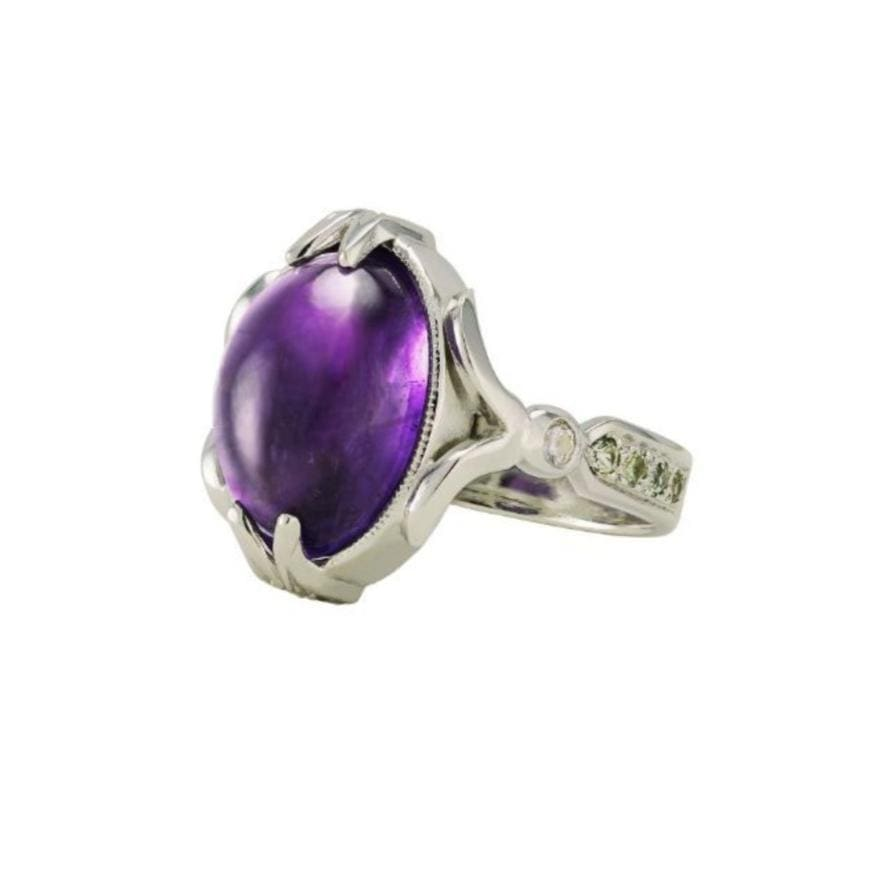 Amethyst Cabochon Sterling Silver Cocktail Ring - Curated Los Angeles