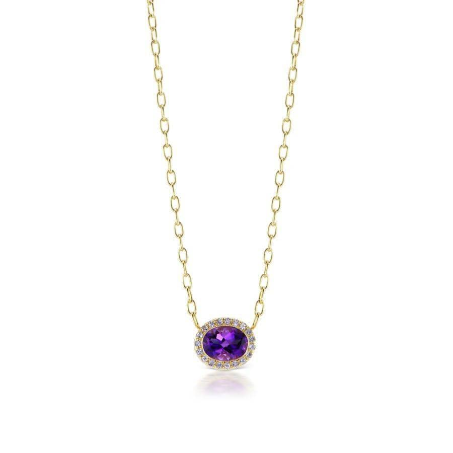 Amethyst Tanzanite Halo Station Necklace
