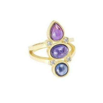 Amethyst Tanzanite Kyanite Cocktail Ring - Curated Los Angeles